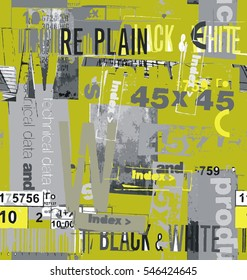 The collage of inscriptions font in yellow, gray and white a seamless pattern on a yellow background.