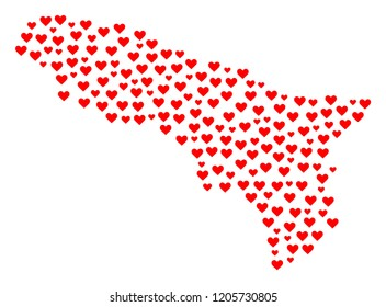 Collage map of Abkhazia composed with red love hearts. Vector lovely geographic abstraction of map of Abkhazia with red dating symbols. Romantic design for dating purposes.
