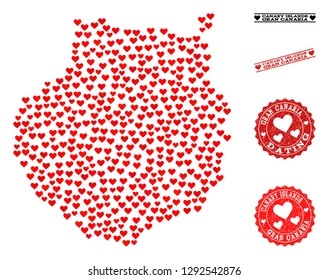 Collage map of Gran Canaria composed with red love hearts, and grunge watermarks for Valentines day. Vector lovely geographic abstraction of map of Gran Canaria with red dating symbols.