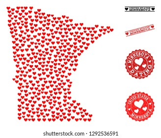 Collage map of Minnesota State composed with red love hearts, and rubber stamp seals for Valentines day. Vector lovely geographic abstraction of map of Minnesota State with red romantic symbols.