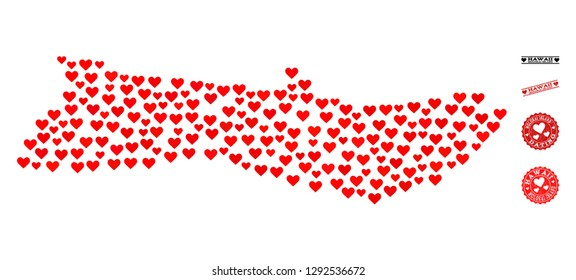 Collage map of Molokai Island composed with red love hearts, and grunge watermarks for Valentines day. Vector lovely geographic abstraction of map of Molokai Island with red wedding symbols.
