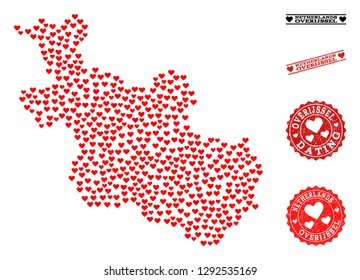 Collage map of Overijssel Province composed with red love hearts, and rubber watermarks for Valentines day.
