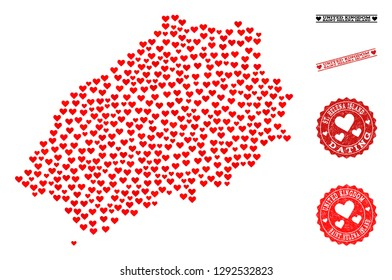 Collage map of Saint Helena Island created with red love hearts, and rubber watermarks for Valentines day. Vector lovely geographic abstraction of map of Saint Helena Island with red wedding symbols.