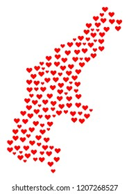 Collage map of Saipan Island created with red love hearts. Vector lovely geographic abstraction of map of Saipan Island with red wedding symbols. Romantic design for wedding projects.