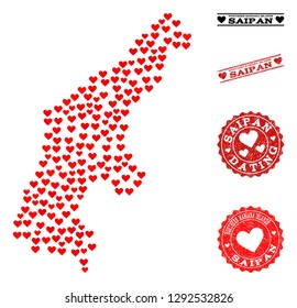 Collage map of Saipan Island designed with red love hearts, and grunge watermarks for dating. Vector lovely geographic abstraction of map of Saipan Island with red dating symbols.