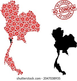 Collage map of Thailand constructed from covid elements and people icons. No Condom textured watermark. Black crowd icons and red covid elements. No Condom title inside round watermark.
