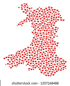 Collage map of Wales formed with red love hearts. Vector lovely geographic abstraction of map of Wales with red romantic symbols. Romantic design for bonus illustrations.