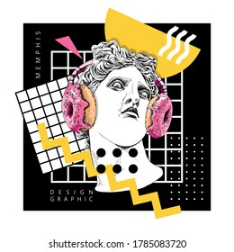 Collage in a Memphis art  style. Apollo Plaster head statue in the donuts headphone and with a decor geometry. Humor poster, t-shirt composition, hand drawn style print. Vector illustration.