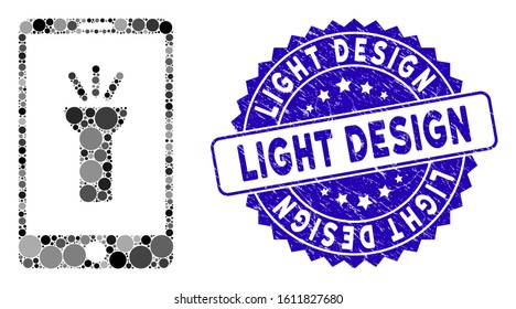 Collage mobile torch app icon and rubber stamp seal with Light Design text. Mosaic vector is formed with mobile torch app icon and with randomized circle elements. Light Design seal uses blue color,