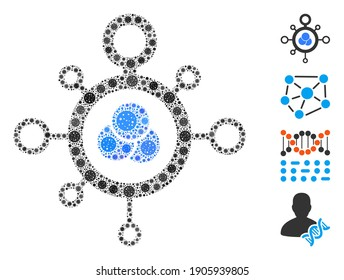 Collage molecule composed of coronavirus icons in variable sizes and color hues. Vector pathogen items are composed into abstract mosaic molecule icon. Some bonus icons are added.