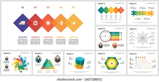 Collage of original business infographic charts. Can be used for workflow layout, annual report, presentation slide, web design. Business and accounting concept with radar and process charts - Shutterstock ID 1607188051