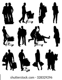 Collage Of People Silhouettes Holding Shopping Bags. Vector Image