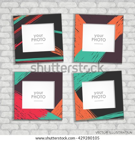 Collage Photo Frame Album Template Kids Stock Vector (Royalty Free ...