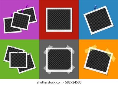 Collage of photo frames in colored squares. Vector illustration