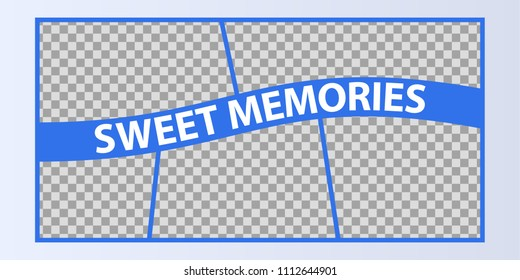 Collage of photo frames vector illustration, background. Sign Sweet memories with a set empty photo frames