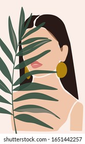 Collage portrait a young female face with gold earrings with a tropical plants in a minimalist, abstract trendy style on a pink background for contemporary beauty fashion concept.