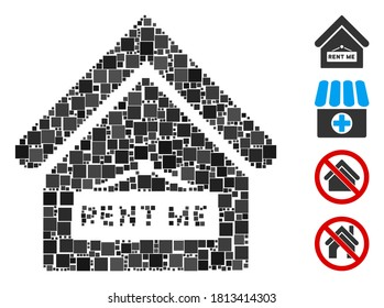 Collage Rent me icon constructed from square items in various sizes and color hues. Vector square items are composed into abstract collage rent me icon. Bonus pictograms are placed.