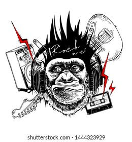 Collage in a Rock Culture style. Monkey with a Mohawk hair style, headphones, lightning, pin, guitar, musical speaker, Audio cassette. T-shirt composition, hand drawn style print. Vector illustration.