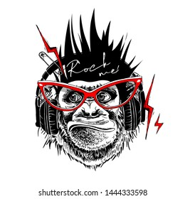 Collage in a Rock Culture style. Monkey with a Mohawk hair style, in a  headphones and glasses with lightning, pin. Poster, t-shirt composition, hand drawn style print. Vector illustration.