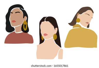 Collage set of young female face with golden earrings on white background, contemporary fashion portrait in a minimalist, abstract style,  hand drawn illustration for Beauty Concept, t-Shirt Print