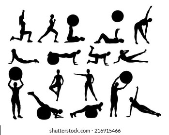 Collage of silhouette woman exercising over white background. Vector image