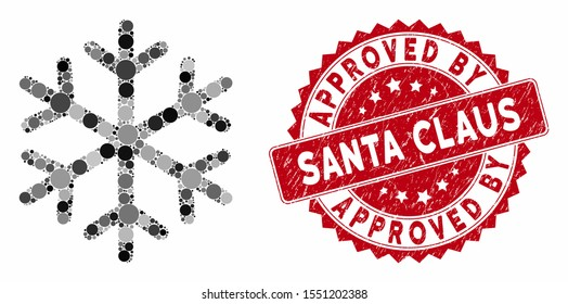 Collage snowflake and grunge stamp watermark with Approved by Santa Claus phrase. Mosaic vector is formed with snowflake icon and with scattered circle spots.