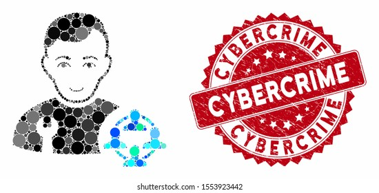Collage social engineer and distressed stamp seal with Cybercrime phrase. Mosaic vector is composed with social engineer icon and with random circle spots. Cybercrime stamp seal uses red color,
