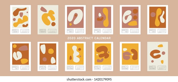Collage style Fluid organic geometry shapes 2020 calendar. Modern and original wall art design. Social media mockup. Week starts on sunday.