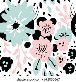 Collage style seamless pattern with flowers and abstract shapes. Modern and original textile, wrapping paper, wall art design.Vector illustration