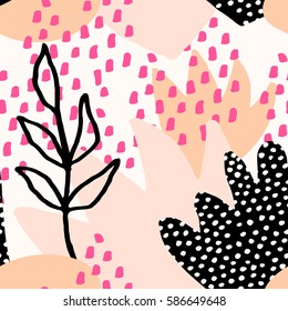 Collage style seamless repeat pattern with abstract and organic shapes in pastel pink, fuchsia, orange, black and cream. Modern and original textile, wrapping paper, wall art design.