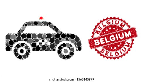 Collage taxi car and grunge stamp seal with Belgium text. Mosaic vector is formed with taxi car icon and with randomized round elements. Belgium stamp seal uses red color, and grunged texture.