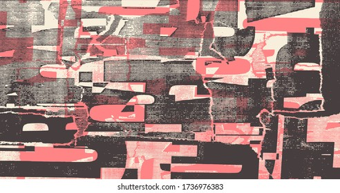 Collage of torn street posters. Abstract  halftone lettering background. vector illustration