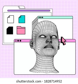 Collage of user interface elements and low poly 3D head in cartoon style. Biometrics, Facial Recognition and Cyber Security concept.