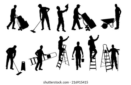 Collage of various silhouette workers isolated over white background. Vector image