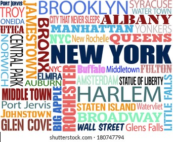 Collage with various words with New York boroughs and symbols on white background, vector illustration