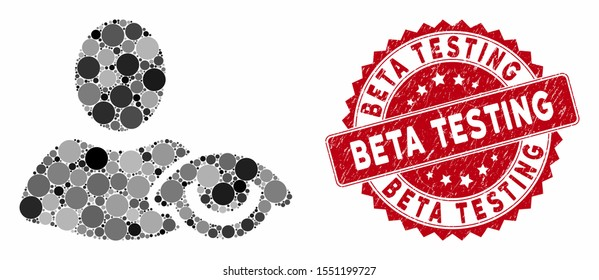 Collage view and distressed stamp seal with Beta Testing caption. Mosaic vector is created with view icon and with scattered round elements. Beta Testing stamp seal uses red color,