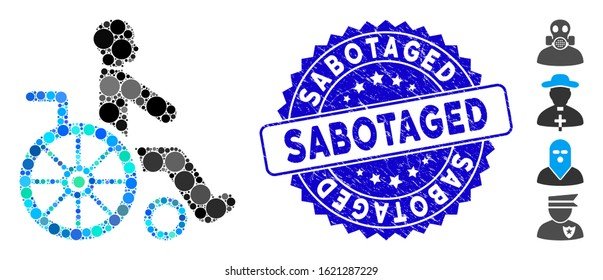 Collage wheelchair icon and grunge stamp watermark with Sabotaged phrase. Mosaic vector is composed with wheelchair icon and with randomized round spots. Sabotaged stamp uses blue color,