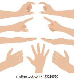 Collage of woman hands on white background. Flat design vector illustration