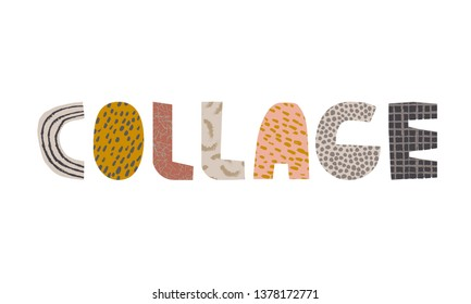collage word title vector illustration
