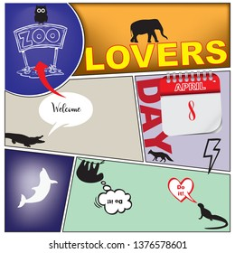 Collage to the world day of zoos. Comics Zoo Lovers Day