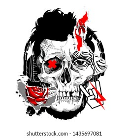 Collage in a Zine Culture style. Human skull with a eye, red rose flower and rock symbol stickers. Poster, t-shirt composition, hand drawn style print. Vector illustration.