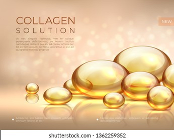 Collagen background. Golden oil bubble, cosmetic skin care essence, beauty serum face mask. Vector golden collagen pearls and bubbles illustration