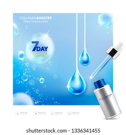 Collagen Booster Perfect Skin Solutions Bubble and Vitamin Vector and Serum Background Template for Skin Care Cosmetic Product.