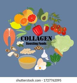 Collagen boosting food on the blue background. Vector illustration