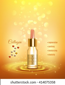 Collagen moisturizing solution pipette bottle for strong nails and smooth skin golden background advertisement poster vector illustration