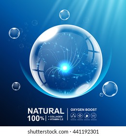 Collagen natural or Oxygen boost vector Background Skin Care Cosmetic.