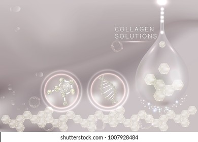 Collagen Serum drop, cosmetic advertising background ready to use, luxury hyaluronic acid skin care ad. illustration vector.