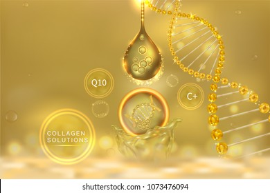 Collagen Serum drop, cosmetic advertising background ready to use, luxury hyaluronic acid skin care ad, Illustration vector.