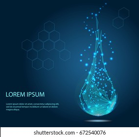 Collagen serum droplet with particles. Beauty illustration of collagen serum. Cosmetic skin care treatment design - stock vector. Drawn low poly vector illustration, polygonal concept