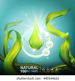 Collagen Serum Seaweed Extract  and Vitamin underwater Background Concept Skin Care Cosmetic.